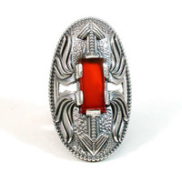 Silver and Carnelian Cocktail Ring - Ancient Armor Inspired