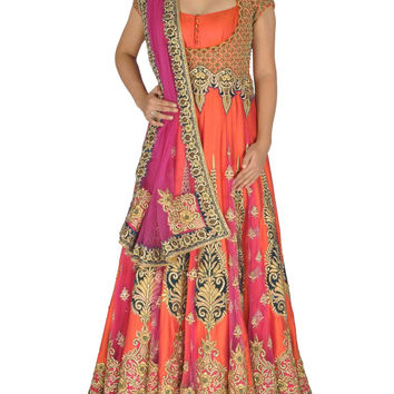 Orange and Pink Bridal Wear Anarkali
