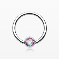 Opalescent Sparkle Steel Captive Bead Ring