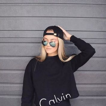 """Calvin Klein"" Round-neck Tops Crop Top Long Sleeve Sweater"