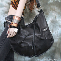 FREE SHIPPING Black hobo oversized large bag bohemian rocker purse raw edges sweetsmokebags free people goth rocknroll gothic rockstyle
