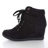 Black Faux Suede Laced Up Mid Strap Sneaker Wedges @ Amiclubwear Wedges Shoes Store:Wedge Shoes,Wedge Boots,Wedge Heels,Wedge Sandals,Dress Shoes,Summer Shoes,Spring Shoes,Prom Shoes,Women's Wedge Shoes,Wedge Platforms Shoes,floral wedges,Fashion Wedge Sh