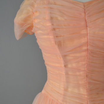 Vintage 50s Emma Domb Pink Chiffon Dress // Small