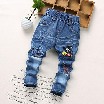 High qualit Children Pants 2018 Spring Fashion Kids Jeans Baby Boy Trousers Autumn Cartoon Pattern embroidery Regular Jeans