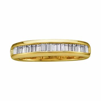 14kt Yellow Gold Womens Baguette Diamond Wedding Anniversary Band 1/2 Cttw