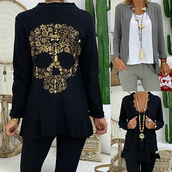 Skull Print Women's Fashion Stand Collar Long Sleeve Cardigan