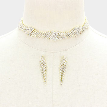 """12"""" gold crystal multi row choker necklace 2"""" earrings .60"""" wide bridal prom"""