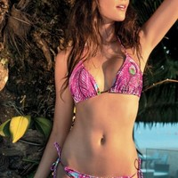 Cia Maritima Peacock Triangle Top and Tie Side Bottom Swimsuit