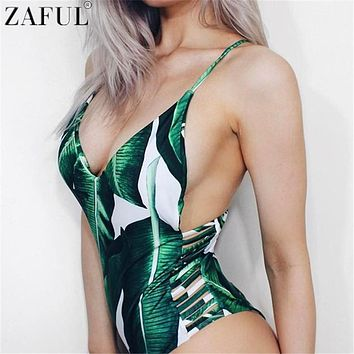 ZAFUL 2017 Sexy One Piece Swimsuit Women Swimwear Leaf Print Hollow Out Bathing Suit Bandage Bodysuit Monokini Romper Bather