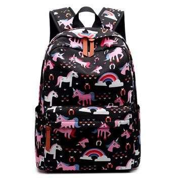 Girls bookbag FABRECANDY Women Cute Cartoon Animal Printing Backpack Canvas Bagpack Bookbag School Bags Teenage Girls Fresh Backbag Laptop AT_52_3