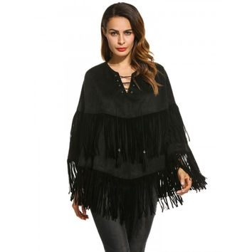 Women Fashion Faux Suede Lace Up Front Fringed Poncho Cape Outwear