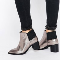 Lost Ink Aimon Silver Metallic Heeled Ankle Boots