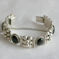 Vintage Mexican Sterling Silver and Obsidian Bracelet black white jewelry for her gray grey