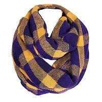 Soft Classic Blue Checkered Plaid Infinity Loop Scarf