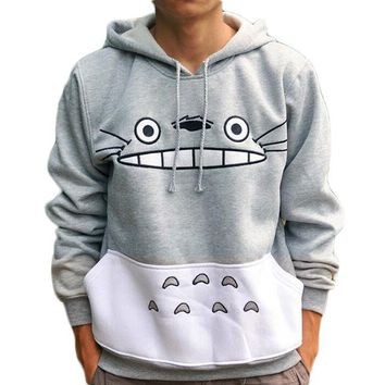 Anime Totoro Cartoon Print Women Hoodies Sweatshirts Hooded Pockets Harajuku Hoodies Korean Autumn Female Kawaii Pullovers **