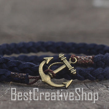 SALE! Anchor Bracelet / Navy Blue Bracelet / Sea Nautical Suede Bracelet / Marine Bracelet / Mens Bracelet / Women Nautical Men Bracelet
