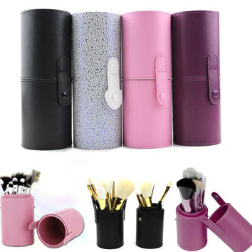 1Pcs New High Quality Travel Leather Cosmetic Brush Pen Holder Makeup Brushes Tools Storage Empty Holder Makeup Organizer Bag
