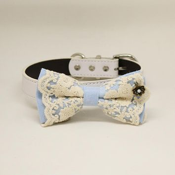 Blue Lace dog bow tie collar, Blue leather dog collar
