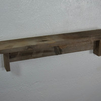 Cute small rustic reclaimed wood wall shelf 21 wide 4 deep