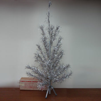 Mid Century 4FT Aluminum Christmas Tree Vintage 1950s 1960s EVERGLEAM Xmas Tree