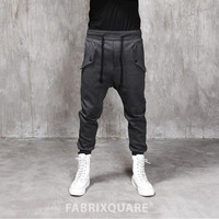 Drop Crotch Flap Pocket Cotton Jersey Pants
