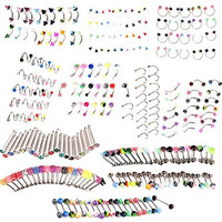 20 pcs body piercing,punk jewelry,piercing jewelry, Button Rings,( Ball lip rings only ) (Size: 1, Color: Multicolor)