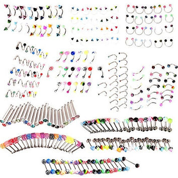 20 pcs body piercing,punk jewelry,piercing jewelry, Button Rings,( Ball lip rings only ) (Size: 1, Color: Multicolor) = 1946730372