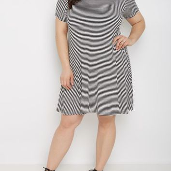 Plus Striped T-Shirt Swing Dress