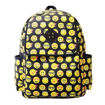 c1fbe1a52b 2017 Women Canvas Backpacks Smiley Emoji Face Printing Schoolba