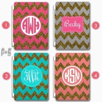 Personalize iPad 4 Smart Cover iPad Air glitter Chevron case Monogram iPad Mini