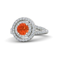 Round Fire Opal 14K White Gold Ring with Diamond