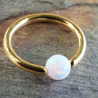 16 Gauge Gold CBR Hoop with White Opal Cartilage Hoop Tragus Helix Rook