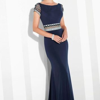 Cameron Blake - 117624 Patterned Beaded Illusion Sheath Gown
