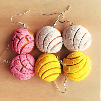 Mexican Concha Pan Dulce Polymer Clay Earrings.