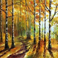 "SUNNY BIRCHES — PALETTE KNIFE Oil Painting On Canvas By Leonid Afremov 72""x48"""