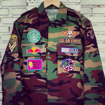 Vintage Custom Patches Camouflage Army Jacket / DIY Custom Patches Jacket Size: S