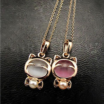 YANA Gold Plated Cat Statement Necklace