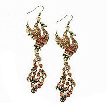 Basket Hill Watches And Gifts Women's Gold Tone Peacock / Pheonix Drop Earrings With Gold Tone Crystals