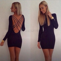 Strappy Cross Open Back Bodycon Dress