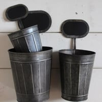 Tin Chalkboard Pots, Planters, Set of 3