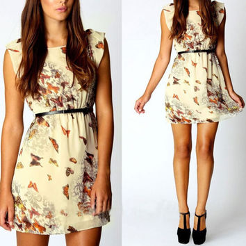Women Chiffon Dress Butterfly Print Pattern Sleeveless Slim Mini Dresses  SM6