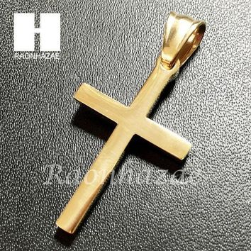 DCCKH7E Mens Iced Out 316L Stainless steel Gold Silver Jesus Cross Small Pendant SS011