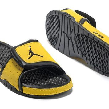 Nike Mens Air Jordan Hydro 2 Slide Sandals Black Yellow Shoes