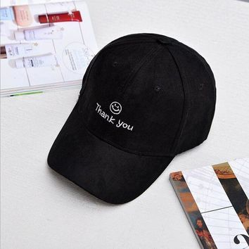 2017 summer new Black pink Smile thank you letter face Suede Hats Snapback dad has Cheap Bboy Trucker Hats free shipping