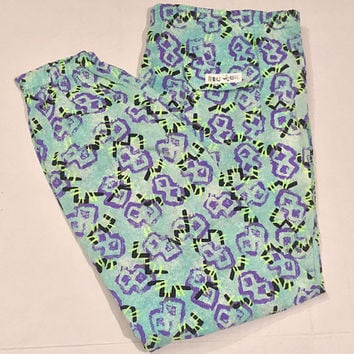 Vtg 80s BLEU ICE Track Pants / Rad Retro Hip Hop Joggers / Neon Blue Green Purple Abstract Op Art / Unisex Elastic Waist Athletic Pants