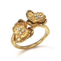 Michael Aram 18K Yellow Gold Small Double Orchid Ring with Diamonds | Bloomingdales's