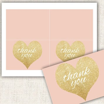Baby shower thank you cards gold and pink girl baby shower thank you cards gold hearts digital file instant download diy