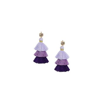 PURPLE RAIN MINI PAGODA TASSEL EARRINGS