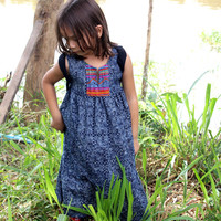 Little Girls Hmong Indigo Batik and Embroidery Bohemian Style Dress