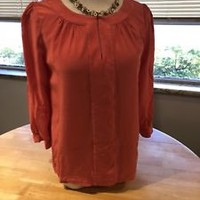 Women's Kate Spade Pink Silk Quarter Sleeve Blouse Size 4